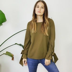 Ann Taylor Green Tie Sleeve Top
